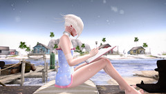 Morning reading,or is it midday yet? Ups, water spots on camera...sorry! (Kush Klokanica) Tags: pixel geek pixelgeek hentai fair hentaifair3 dress opaque sheer namii nena bowdit vtech flatchest flat maitreya beach reading book sunshine tattoo white sunnyflowers sl secondlife avatar mesh
