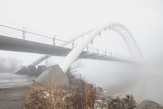 Humber Bay Bridge dissapears in the fog