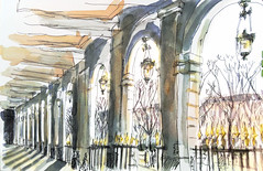 Paris_Palais Royal, soleil d'hiver (velt.mathieu) Tags: paris sketch croquis winter hiver sun
