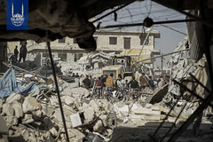 Destruction due to the recent violence in Syria.