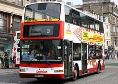 597 X597 UKS (Cumberland Patriot) Tags: lothian buses edinburgh princes street midlothian dennis trident plaxton president 597 x597uks low floor double deck decker bus harlequin derv diesel engine road vehicle public transport 3 3a clovenstone