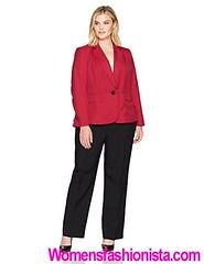 Le Suit Women's Plus Size Glazed Melange 1 Button Pant Suit, Fire Red/Black, 18W (womensfashionista) Tags: 1 18w button fire glazed le melange pant redblack size suit womens