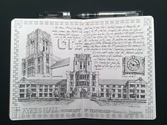 Entry No 9 - The Sketchbook Project 2018 - Ayers Hall (schunky_monkey) Tags: thesketchbookproject illustration art sketching sketch drawing draw penandink ink pen fountainpen belltower campus building architecture gothic tennessee knoxville universityoftennessee ayershall