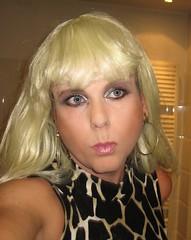 Come on Barbie, let's go party! (Irene Nyman) Tags: irenenyman dutch crossdress crossdresser irene nyman tranny tgirl transgirl blueeyes cutie babe blonde xdresser mtf transvestite cute holland makeup portrait dress minidress barbie pout pinklips giraffe earrings