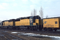 C&NW GP50 #5095 and SD45 #901 at Deval on 2-16-81 (LE_Irvin) Tags: cnw caboose deval gp50 sd45