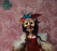 Nellyana a one of a kind handmade polymer clay Harpy doll. (Valentina Bruschi) Tags: blackhair feather birdmask redleather greekmythology fly claws wings feathers bird woman polymerclay ooakdoll handmade doll harpy