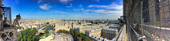 Panoramic view from Gallery of Chimera, Notre Dame, Paris - 2 (woto) Tags: paris france notredame hdr sky cielo gárgola galleryofchimera chimera gargoyle sena panoramic panorama