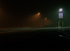 (toulouse goose) Tags: film kodak portra 800 mamiya 645 e 120 sekor 150mm35n mediumformat c41 homedeveloped epson v500 foggy night street lights gas station snow