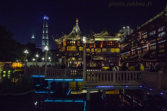 Chine,Shanghai, le quartier chinois (louis.labbez) Tags: chine ville china town labbez asie asia shanghai architecture immeuble skyline gratteciel quartier nuit night lumière reflection reflet couleur color roof toit toiture water eau chinois