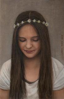 Portrait einer jungen Dame. Oil on canvas on board.
