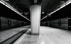 Lawrence Station (Katherine Ridgley) Tags: toronto ttc subway lawrencestation subwaystation trainstation underground platform tracks tunnel train monochrome blackwhite torontotransitcommission transit