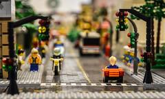 LEGO Street Scene (tim.perdue) Tags: lego columbus museum art cma cmoa think outside brick exhibit gallery building toy minifig street scene car bus motorcycle traffic light city road intersection corner