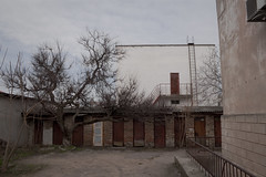 Doors (Alexander Oleynik) Tags: doors ladder trees yard wall дерево двор raum стена tree road building sky architecture cloudy