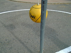DSC01770 (classroomcamera) Tags: school classroom playground blacktop concrete circle tether tetherball ball yellow hang hanging rest resting shadows flag pole flagpole post white paint