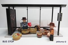 Bus Stop 004: La Jiggy Jar Jar Doo (jefalump) Tags: busstop medicom kaws walkingdead minifig kubrick gingerbreadman carlpoppa comicstrip parody