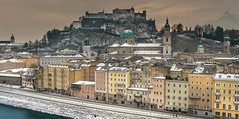 Salzburg (Walter Quirtmair) Tags: ifttt 500px cityscape city skyline tower architecture town salzburg austria winter snow white facades colors colorful quirtmair castle