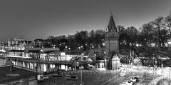 Hubbrücke  in  monocrom (petra.foto busy busy busy) Tags: fotopetra canon 5dmarkiii lübeck langzeitbelichtung blauestunde hafen nachtaufnahme schleswigholstein architektur stadt hubbrücke