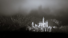 Neuschwanstein in a fairytale wonderland (redfurwolf) Tags: neuschwanstein hohenschwangau germany bavaria forest snow landscape castle mist fog building architecture trees outdoor fairytale mountains blackandwhite bw monochrome redfurwolf sony a7riii sel2470f28gm