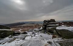 The snow storm approaches. (S.K.1963) Tags: elements snow storm derbyshire peak diatrict higger tor olympus omd em1 mkii 7 14mm 28 pro