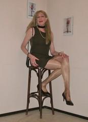A short brown dress. (sabine57) Tags: crossdressing transvestism crossdress crossdresser cd tgirl tranny transgender transvestite tv travestie drag pumps highheels pantyhose tights dress shortdress handbag purse choker