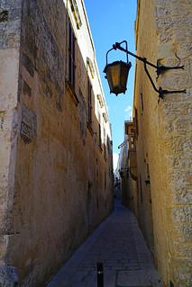 Walking through the narrow ancient streets, Mdina, Malta