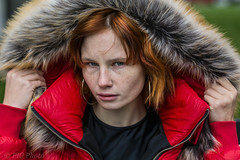 Hooded redhead (piotr_szymanek) Tags: natalia portrait outdoor redhead freckles woman lady girl skinny young face eyesoncamera hand hood jacket red 1k 20f nataliam 5k 50f 10k