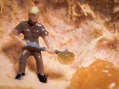 Workin' in the Pulp Mines (Jessie Bondia) Tags: citrus cuties cutie fruit macromondays macro monday food edible toy toys minifig minaturefigurines iplaywithmyfood orange mandarin mandarinorange clementine