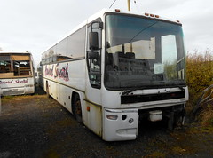 Howard Snaith Volvo Plaxton Premiere (miledorcha) Tags: howard snaith otterburn northumberland rural depot garage north east england volvo b10m plaxton premiere 320 updated lower front panel psv pcv withdrawn abandoned sorn rust rusting decay spares t90sou b10m62