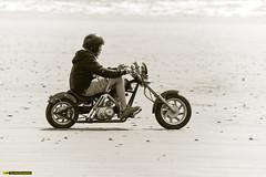 Across the sand (technodean2000) Tags: classic old bike rider pendine sands uk nikon d810 guy male man landscape ocean water motorcycle road