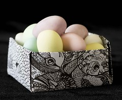 sugar almonds in an origami box (dannyjackie) Tags: sugar almonds origami box pastels paper still life