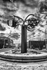 Global Vision (brentus69) Tags: edmonton alberta canada artwork sculpture metal capitalboulevard worldenoughandtime kenmacklin bw blackandwhite streetart nikfilters niksilverefex