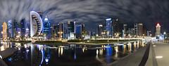 Doha Cityscape panoramic view (Shans Photografia) Tags: panorama doha qatar cityscape clouds reflection longexposure water