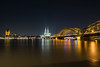 Cologne at high tide at Night (Norbert Stening) Tags: bridge brücke deutzerbrücke irixlens rhein dom köln cologne hochwasser irix 15mm