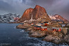 Last Light at Hamnoy (Paul Forgham) Tags: hamnoy moskenes lofoten norway mountains sea rocks sidelight clouds moody huts village paulforgham fishing picturesque snow landscape bay