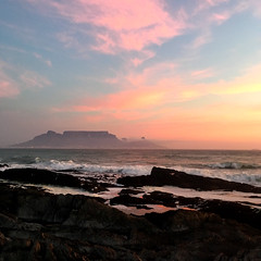 Sunset (rjmiller1807) Tags: tablemountain sunset capetown westerncape southafrica blouberg bloubergstrand blaauwberg rocks sea ocean bay tablebay rockpools cloud pink clouds blue dusk 2017 iphone iphonography iphonese scenic scenery
