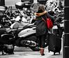combien de motos sur la photo ? - how many bikes on the picture? (vieux rêveur) Tags: desaturation rouge red motos rue street femme woman bikes
