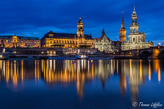 blue hour at the river (funtor) Tags: dresden sachsen germany night reflection bluehour cityscape city river building architecture