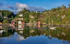 Where we love is home - home that our feet may leave, but not our hearts ♡ (Ranveig Marie Photography) Tags: mælandsvågen mæland bømlo sunnhordland norge norway boat island boathouses houses sea reflection su mmer