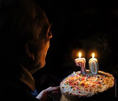 What did you wish for? By Julie Adams (julz.adams) Tags: cake 70 light lighting beautiful mood wish candle birthday