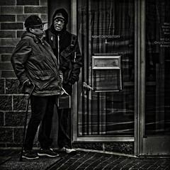 """They Share The Most Precious Gift Of All: A Generosity Of Spirit"", Martin Luther King Jr. Avenue, Historic Anacostia, Washington DC (Gerald L. Campbell) Tags: streetphotography street squareformat spirituality spiritualindifference socialdocumentary alienation aloneness bw blackwhite blackmale citylife community dc digital freedom historicanacostia indifference injustice inequality reflections martinlutherkingjravenue textures urbanphotography urban washingtondc yearning youth yeswecan canonsx60hs"