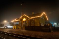 Waiting for that Midnight Train (Phil Ostroff) Tags: bertram texas railway railroad night fog long exposure nikon d750