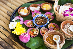 Beautiful Set of Thai Food. (baddoguy) Tags: art backgrounds bamboo material banana leaf boiled egg bowl chef choice color image condiment cultures curry decoration dessert edible flower food drink garlic ginger gourmet group of objects healthy eating horizontal ingredient lime lotus water lily multi colored no people onion orchid petal photography pink plate porcelain readytoeat restaurant spoon thai culture thailand vegetable violet wrapped wrapping
