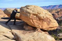 Sue Pushing A Boulder Out Of The Way (Joe Shlabotnik) Tags: justsue nationalpark utah hiking sue 2017 boulder canyonlands november2017 canyonlandsnationalpark afsdxvrzoomnikkor18105mmf3556ged