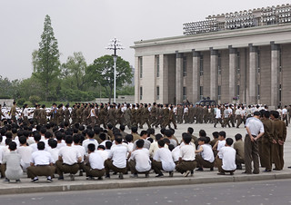 North Korean soldiers training in Kim il Sung square, Pyongan Province, Pyongyang, North Korea