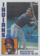 1984 Topps - Broderick Perkins #212 (First Base / Outfield) - Autographed Baseball Card (Cleveland Indians) (Treasures from the Past) Tags: 1984 topps 1984topps baseball cards baseballcard vintage auto autograph graf graph graphed sign signed signature broderickperkins clevelandindians firstbase outfielder