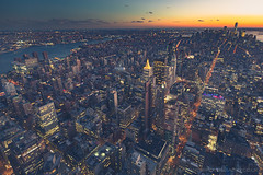 Downtown View from the Top of the Empire State Building, New York City, United States of America (iesphotography) Tags: newyork unitedstatesofamerica usa travel winter nyc ny bigapple travelphotography citybreak newyorkcity vacation location states stateside topofempirestate sunset empire worldtrade skyscraper