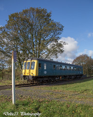 20171105-IMG_7532 (deltic21) Tags: eastlancs elr east lancashire lancs railway rail railways preservation preserved line lineside gala dieselgala dmu diesel multiple unit britishrail brblue brgreen br british train trains traction track tracks northwest canon classic 121 bubble car single craven cravens autumn rails locomotion railcar units restoration renovation station bury greater manchester ramsbottom summerseat farm pressed steel crossing signpost sign