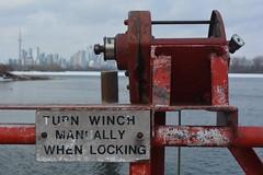 Bridge winch (hogtown_blues) Tags: toronto ontario canada tommythompsonpark lesliestreetspit torontoparks bridge sign torontosigns rust red