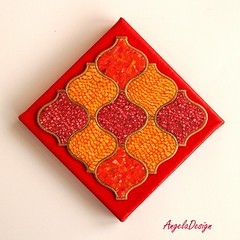 Hot red Polymer clay quilt (Angela.B) Tags: polymerclay polymer pattern walldecor wallhanging fimo colorful multicolor quilt