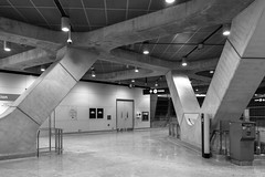 York University Station (Lú_) Tags: toronto architecture foster modernist modern modernism brutalist brutalism neobrutalism neobrutalist ttc subwaystation yorkuniversitystation torontophotowalk concrete interior blackandwhite bw monochrome